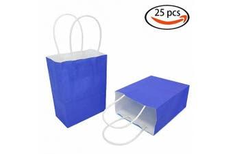 (Royal Blue(12 Pcs)(4.3''x 2.3''x 5.9'')) - AZOWA Gift Bags Mini Kraft Paper Bags With Handles(Royal Blue, 25 Pcs)