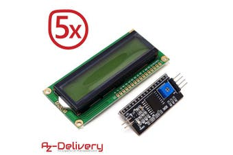 (5x LCD + I2C) - AZDelivery ⭐⭐⭐⭐⭐ 5 x 1602 LCD 2 x 16 characters display module with green background I2C bundle for Arduino including eBook