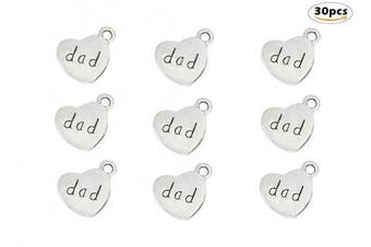 (dad(Antique Silver)) - 30pcs Dad Charm,Heart Shape Double-faced Pendant for Father's Day as DIY Bracelet Necklace jewellery Making Findings(Antique Silver)