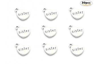 (sister(Antique Silver)) - 30pcs Sister Charm,Heart Shape Double-faced Sisterhood Pendant for DIY Bracelet Necklace jewellery Making Findings(Antique Silver)