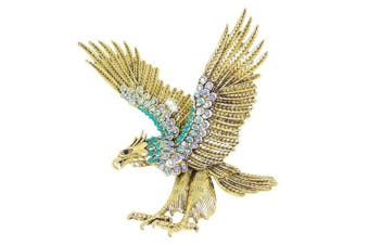 (Blue Antique Gold-tone) - TENYE Austrian Crystal Vintage Style Big Eagle Bird Animal Brooch