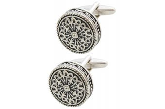 COLLAR AND CUFFS LONDON PREMIUM Cufflinks WITH PRESENTATION GIFT BOX - High Quality - Antique-Style Celtic Design - Brass - Round Cross Design - 20mm Diameter - Silver and Black Colours