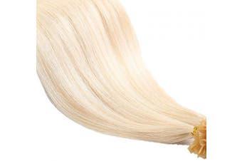(46cm -50g, 613# Bleach Blonde) - 46cm 50cm 60cm Blonde Pre Bonded Hair Extensions 100 Strands 100% Remy Human Hair U Tip Nail Keratin Straight, 46cm -50g, 613 Bleach Blonde