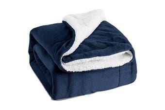 (Queen(230cm  x 230cm ), Navy Blue) - Bedsure Sherpa Bed Blanket Navy Blue Queen size 90x90 Bedding Fleece Reversible Blanket for Bed and Couch