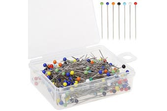 Colour Scissor 250 Pieces Sewing Pins Ball Glass Head Pins Straight Quilting Pins For Dressmaker Jewellery Decoration