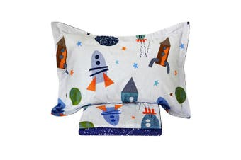 (Queen, Space Rockets) - Brandream Space Bedding For Kids Boys Bedding Galaxy Bedding Sets Rockets Super Soft Bed Sheet Set Cotton Bed Sheets Sets-Flat Sheet Fitted Sheet Pillowcase Queen Size