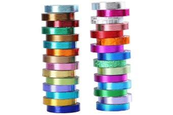 (mix) - 30 Rolls Washi Tape,Multi-Coloured & Gold Metallic Washi Masking Tape - 8mm x 4m Rainbow Paper Tape for DIY Crafts (mix)