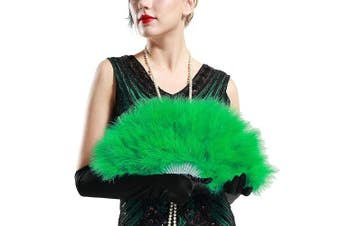 (Green) - ArtiDeco 1920s Marabou Feather Fan Flapper Folding Hand Fans Feather Fan Handheld for 20s Vintage Gatsby Party