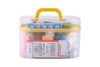 (Yellow) - Large Portable Sewing Kit Box Plastic Organiser Storage Box with Removable Interlayer for 10pcs Sewing Tools Including Needle Tape Measure Scissor Thimble(Yellow)