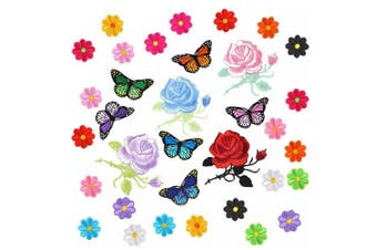 (34 Pcs) - Coopay 34 Pieces Embroidery Applique Patches Sunflowers Butterfly Rose Flowers Iron on Patches for Arts Crafts DIY Decor, Jeans, Jackets, Clothing, Bags