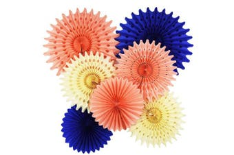 Bridal Shower Decorations 7 pcs Navy Peach Cream Tissue Paper Fan Flower Navy Paper Fans/Pinwheel Backdrop Decor/Peach Paper Fan| Bridal Shower Decor | Boho Wedding/Baby Shower Decorations