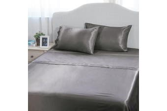(Queen(90x102 60x80), Dark Gray) - 4-Piece Cool Satin Bed Sheet Set Queen Dark Grey Smooth and Silky with Deep Pocket Fitted sheet by Bedsure