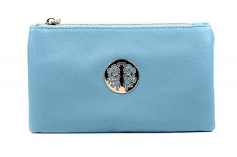(Blue) - Aossta Small Clutch Bags Crossbody Bag With Wristlet and Long Adjustable Strap