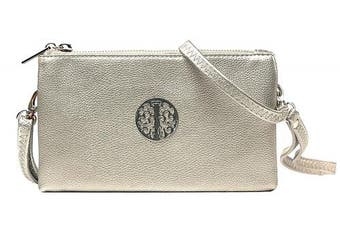 (Silver) - Aossta Small Clutch Bags Crossbody Bag With Wristlet and Long Adjustable Strap