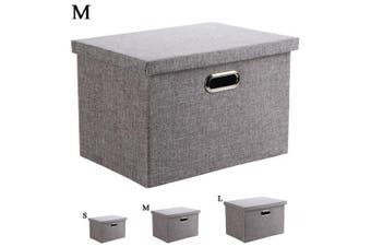 (Medium) - Wintao Storage Box, Collapsible Linen Fabric Clothing Storage Basket Bins Toy Box Organiser with Lids, Grey, 3 Sizes-Medium
