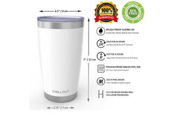 (590ml, White) - 590ml Stainless Steel Tumbler with Splash Proof Sliding Lid - Premium Quality Double Wall Vacuum Insulated Travel Coffee Mug - Insulated Cup for Hot & Cold Drinks - White Tumbler 590ml