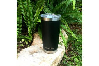 (590ml, Black) - 590ml Stainless Steel Tumbler with Splash Proof Sliding Lid - Premium Quality Double Wall Vacuum Insulated Travel Coffee Mug - Insulated Cup for Hot & Cold Drinks - Black Powder Coated Tumbler 590ml