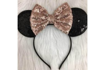 CLGIFT Rose Gold Minnie Mouse Ears Headband/Rose Gold sequin Mickey minnie/Disney Ears Headband/Handmade/One size fits all