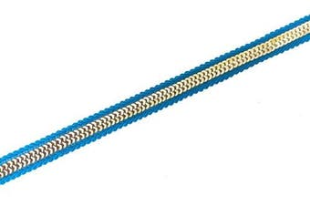(blue) - gold sari trim with sequins in blue 3 yards by craftbot