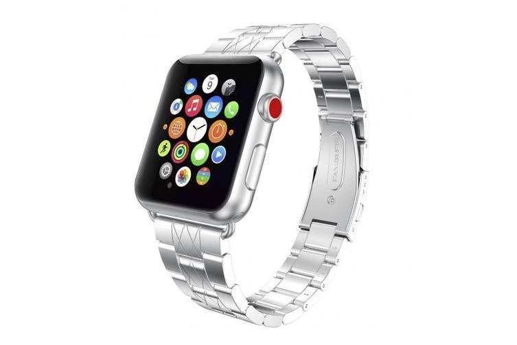 (42mm/44mm, Silver/Black) - For iWatch Strap 42mm, Aottom 42mm Apple Watch Strap Stainless Steel Replacement Band Grid Pattern Wrist Strap with Folding Metal Bracelet Buckle Clasp for 42mm iWatch Band Series 3/2/1 - Silver