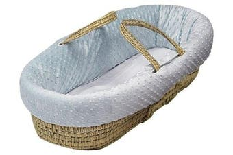 (Blue) - Baby Doll Bedding Heavenly Soft Moses Basket, Blue