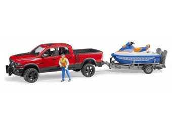 (02503-RAM truck w/Water Craft & Driver) - Bruder Ram 2500 Power Waggon with Trailer and Personal Water Craft with Driver Vehicles-Toys