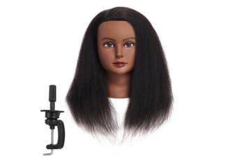 (36cm ) - Traininghead 100% Real Hair Female Mannequin Head Training Head Styling Cosmetology Manikin Head Doll Head With Free Clamp (B)