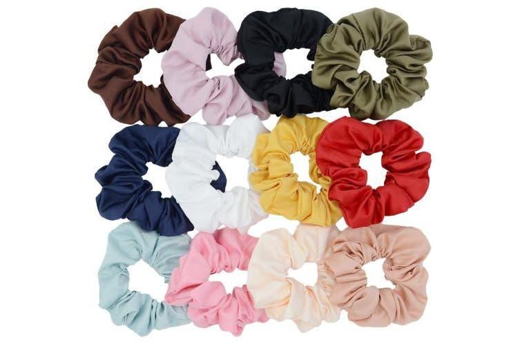 (Style2) - Large Premium Satin Hair Scrunchies,Chloven Set of 12 Scrunchy Hair Ties for Women Girls