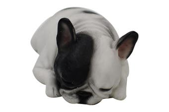 Comfy Hour 15cm Length Lying Sleeping Dog French Bulldog Figurine, Home Decoration Gift For Dog Person, Black & White