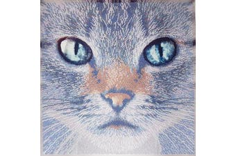 Bead embroidery kits, Brown Cat, beadwork, animal needlepoint kit, Pet lover gift idea, beading set, cat embroidery pattern, bead art