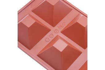 (Red 6-Cavity Pyramid) - Silicone Cake Mould, 6 Holes Pyramid Baking Mould Bakeware Non-stick Silicone Cake Pan
