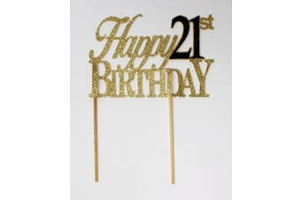 (Gold & Black) - All About Details Happy 21st Birthday Cake Topper (Gold & Black)