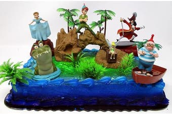 PETER PAN Deluxe Birthday Cake Topper Set Featuring Peter Pan and Friends with Decorative Themed Accessories