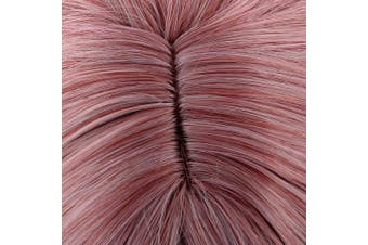 (Gradient) - Acecharming Pink Wig With Bangs, Short Curly Hair Womens Wigs Charming Natural Wavy Hair Wigs (Free Wig Cap)