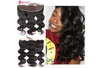 (14) - Ali Pearl Brazilian Human Hair 13x4 Lace Frontal Closure Free Part with Baby Hair Body Wave Human Hair Extension Natural Black (14)