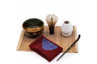 (Red) - Mocha Chadao Matcha bowl | Match Whisk ( purple bamboo) & Tea Scoop | Matcha Bowl | Whisk Holder |Tea Cloth |Gift Box |Best Authentic Accessories For Japanese Matcha Green Tea Ceremony