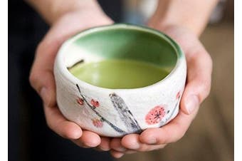 (Plum Blossom) - Authentic Japanese Traditional Tea Ceremony Matcha Bowl Chawan Textured Glaze Floral Design Handcrafted in Japan (Plum Blossom)