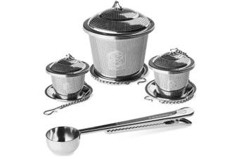 Kessaku Premium Tea Infuser Set - Deluxe Combo Kit of 1 Single Cup, 1 Medium, 1 Large Infuser, Drip Trays and Scoop with Bag Clip - Reusable Stainless Steel Strainers and Steepers for Loose Leaf Teas