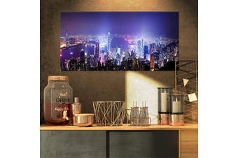 (80cm  x 41cm ) - Design Art Hong Kong Night City-Cityscape Photo Canvas Art Print-32x16, 32x16