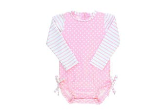 (3 - 6 Months, Pink/White) - RuffleButts Infant/Toddler Girls Long Sleeve UPF 50+ One Piece Rash Guard Swimsuit