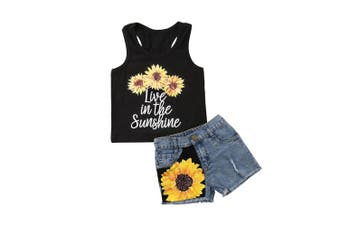 (4-5 Years, Style 2) - 2Pcs/Set Fashion Toddler Kids Baby Girl Sleeveless T-Shirt Top+Floral Denim Shorts Outfits