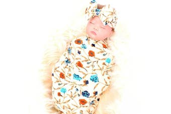 (Ivory) - Galabloomer Newborn Receiving Blanket Headband Set Flower Print Baby Swaddle Receiving Blankets