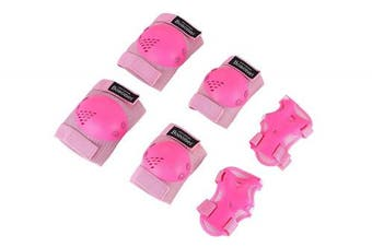 (Medium(6-15 years), Pink) - Kids/Youth Knee Pad Elbow Pads Guards Protective Gear Set for Rollerblade Roller Skates Cycling BMX Bike Skateboard Inline Skatings Scooter Riding Sports, Wrist Guards Toddler for Multi-sports Outdoo