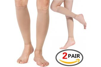 """(Beige/Medium / 13-15.5"""" Calf (2pairs)) - (2 PAIRS)Compression Sleeve - For Shin Splints, Calf Strains, Sports Recovery - Leg Socks For Men and Women - Black - Calf Guard for Running, Marathon, Rugby, Walking, Tennis, Golf, Cycling, Maternity"""