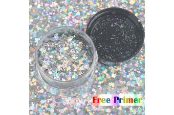 (Laser Silver) - COKOHAPPY Large Laser Silver Ultra-thin Holographic Chunky Cosmetic Mix Glitter Jar (20 ml) Includes Long Lasting Fix Gel (10ml) Holographic Rave Festival Face Body Hair Nails Shining Set
