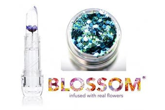 (Purple Flower) - Blossom CRYSTAL Lip Balm, Infused with REAL FLOWERS (with bonus Skin/Hair Glitter) (Purple Flower)