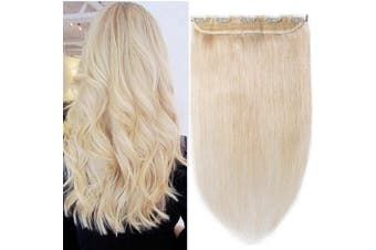 (60cm  - 60g, #60 Platinum Blonde) - 60cm One Piece Clip in Human Hair Extensions 100% Remy Real Hair Long Straight 3/4 Full Head 5Clips, 60g #60 Platinum Blonde