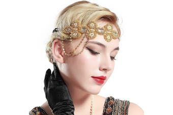 (Gold) - ArtiDeco Vintage 1920s Beaded Headband 1920s Headpiece with Crystal Great Gatsby Costume Accessories Roaring 20's Accessories