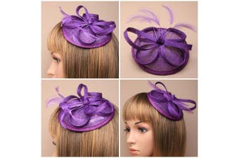 (Purple) - Hessian Hatinator Fascinator With Feathers On Comb And Elastic Wedding Prom