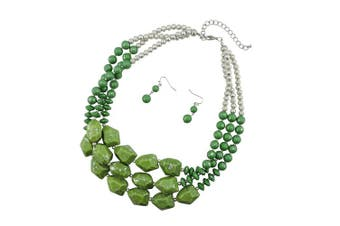 (green+sliver tone) - BOCAR Multi Layer Necklace for Women Beads Statement Chunky Necklace and Earring Set
